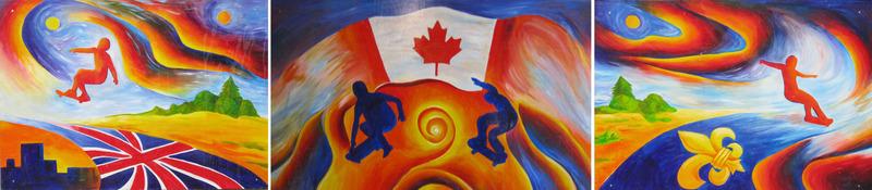 <p>Murale par&nbsp;Natalya Bukhanova<br /><br />Au nord, il y a le drapeau de la Grande-Bretagne avec un jeune qui roule vers le centre.&nbsp; Au sud, il y a un jeune roulant vers le centre du drapeau qu&eacute;b&eacute;cois.&nbsp; Les planchistes se rencontrent au centre sur le drapeau canadien.&nbsp; Le tableau symbolise le rassemblement des deux nations fondatrices europ&eacute;ennes pour former notre pays.</p>