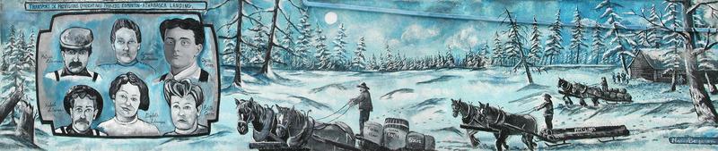 <p>Murale par Nancy Bergeron<br /><br />Patrice L&eacute;tourneau et son fr&egrave;re Hubert sont arriv&eacute;s dans la r&eacute;gion de Legal avec leurs femmes, Z&eacute;na&iuml;de et Elisabeth en 1898-99. Les deux familles L&eacute;tourneau se sont unies et ont &eacute;tabli un chemin de fourniture d&rsquo;hiver entre Edmonton et Athabasca Landing en 1907. Ils apportaient des tuyaux et des fournitures au &laquo; landing &raquo;. Quand la glace sur la rivi&egrave;re cassait, des barges apportaient l&rsquo;essentiel au village de Norman Wells dans les Territoires du Nord-Ouest o&ugrave; il y avait du p&eacute;trole. Quand Louis Oscar Caron est arriv&eacute; &agrave; Legal en 1908, il s&rsquo;est joint &agrave; l&rsquo;entreprise L&eacute;tourneau. Ses descendants poss&egrave;dent aujourd&rsquo;hui Caron Transport.</p>