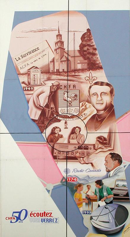 <p>Murale par Shoko C&eacute;sar<br /><br />La murale a &eacute;t&eacute; peinte pour c&eacute;l&eacute;brer le cinquanti&egrave;me anniversaire de la station de radio francophone CHFA. CHFA : courage, honneur, fiert&eacute;, amour, a &eacute;t&eacute; la premi&egrave;re chaine de radio francophone dans l&rsquo;ouest canadien.&nbsp; Sur la murale, il y a le d&eacute;but du CHFA en 1949 dans un &eacute;difice similaire &agrave; une latrine pr&egrave;s de Saint-Paul et la progression &agrave; la vue moderne au bas.</p>