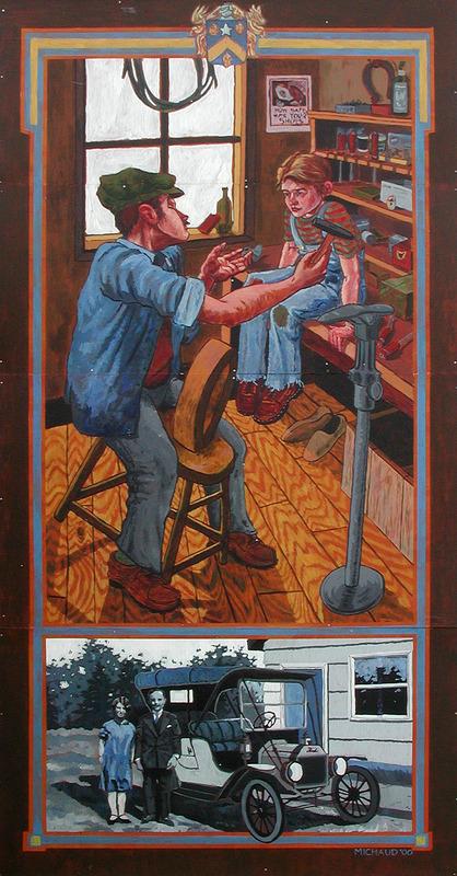 <p>Murale par Marc &amp; Daniel Michaud<br /><br />&Eacute;mile, sa femme Lumina et leur fils &eacute;taient la cinqui&egrave;me famille &agrave; vivre &agrave; Legal. Il a construit une cabane en rondins, pr&egrave;s de ce qui est maintenant la rue principale, o&ugrave; il devint le premier cordonnier de Legal. Sur la murale, &Eacute;mile communique son exp&eacute;rience de vie et son m&eacute;tier &agrave; son fils Adrien. Au bas de la murale, on peut voir Adrien et sa femme qui se sont mari&eacute;s en 1928. Ils sont debout pr&egrave;s de leur v&eacute;hicule et de leur maison modeste (vers 1917).</p>
