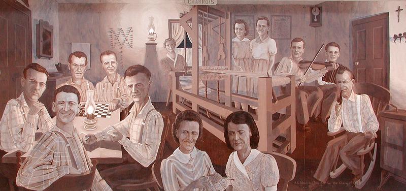 <p>Murale par Karen Blanchet<br /><br />La famille n&rsquo;a jamais eu la possibilit&eacute; de voir tous ses membres ensemble pendant leur vie (les plus vieux avaient quitt&eacute; la maison quand les plus jeunes sont n&eacute;s). Cette murale, d&eacute;voil&eacute;e lors d&rsquo;une r&eacute;union de famille en l&rsquo;an 2000, leur a permis de tous se r&eacute;unir. La murale montre le plaisir d&rsquo;effectuer des activit&eacute;s familiales &agrave; la maison.</p>