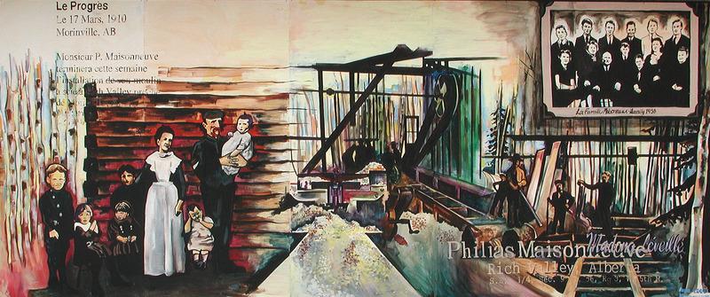 <p>Murale par Anne Maisonneuve<br /><br />La famille de Philias Maisonneuve op&eacute;rait la scierie &agrave; Rich Valley de 1910 &agrave; 1915. Les canadiens-qu&eacute;b&eacute;cois avaient de l&#39;exp&eacute;rience dans les camps de bucherons, les scieries et les sites de construction. La scierie de Philias est un exemple du r&ocirc;le des canadiens-fran&ccedil;ais dans la transformation de b&ucirc;ches en planches en Alberta. La murale d&eacute;montre la scierie en activit&eacute;.</p>