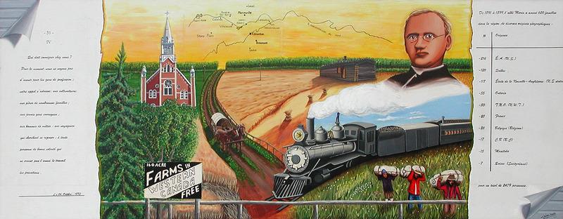 <p>Murale par Shoko C&eacute;sar<br /><br />Attir&eacute; par l&rsquo;annonce de l&rsquo;abb&eacute; Morin pour des fermes &agrave; bas prix en Alberta, 620 familles sont venues dans la r&eacute;gion entre 1891 et 1899. Elles utilisaient tous les modes de transport disponibles, elles venaient du Qu&eacute;bec, des &Eacute;tats-Unis et m&ecirc;me d&rsquo;Europe. Sans t&eacute;l&eacute;phone ou autre mode de communication, pr&egrave;s de 2 500 francophones se sont install&eacute;s dans la r&eacute;gion d&rsquo;Edmonton &agrave; la fin des ann&eacute;es 1800 en esp&eacute;rant avoir un meilleur avenir.</p>
