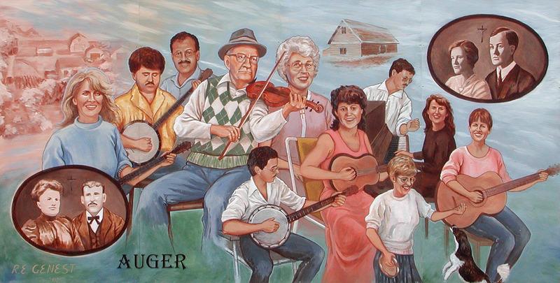 <p>Murale par Remie Genest<br /><br />Germain et C&eacute;cile Auger, accompagn&eacute;s de leurs enfants, sont d&eacute;montr&eacute;s en train de jouer leurs instruments de musique. La musique et le chant faisaient partie des r&eacute;unions annuelles de la famille. Ces soir&eacute;es remplies de joie, pr&eacute;sentes dans tellement de familles francophones, constituent une grande partie de la culture canadienne-fran&ccedil;aise.</p>