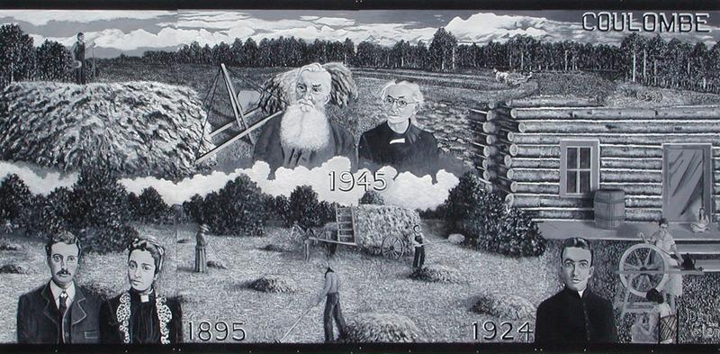 <p>Murale par Dan Glen<br /><br />Cette murale rend hommage au cinquanti&egrave;me anniversaire de mariage de Delphis et Marie-Claire Coulombe. Cette famille ing&eacute;nieuse est d&eacute;montr&eacute;e en train de r&eacute;colter le foin en utilisant des chevaux pour faire des meules de foin plus grosses. Il y a aussi Marie-Claire qui utilise son rouet et une photo de leur fils, qui est devenu le premier pr&ecirc;tre dans le dioc&egrave;se de Saint-Paul.</p>