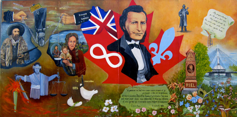 Mural by Sister Suzane Baron<br /><br />Louis Riel led the resistance of the M&eacute;tis and homesteaders against the federal government. The government was building a railroad on farmers&rsquo; land without their permission. In this mural, we see the portrait of his friend Gabriel Dumont, his mother Marie-Anne Gaboury, and himself at the center. In the bottom left corner, we see the flames representing the decision to hang him which then changes to blood and later flowers.