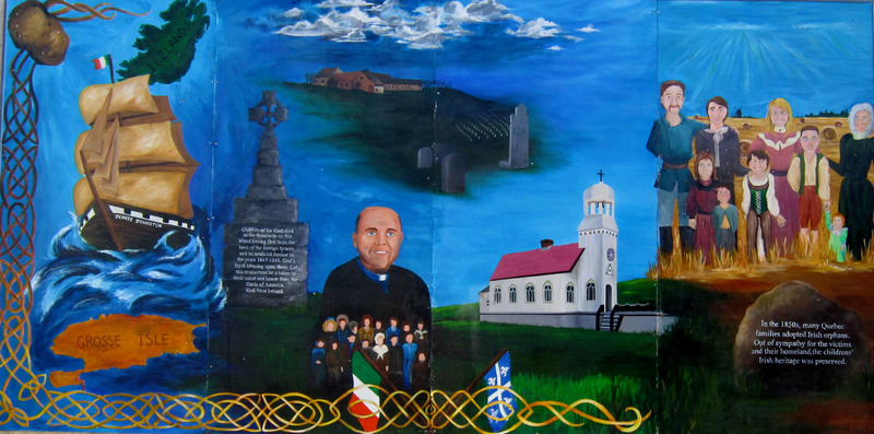 Mural by Colette Bachand, Olivia Imbrogno and Rory Turner<br /><br />Irish Immigration began when potatoes, their staple crop, became diseased. The Irish fled to many places including Canada, but one quarter to one half of all immigrants did not make it to their destination. They arrived at Grosse &icirc;le, where priests and nurses would try to heal the sick. Children who were orphaned were then cared for by the church. Hospitable French families adopted them and gave them a second chance at life.&nbsp;