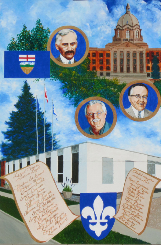 Mural by Karen Blanchet<br /><br />Citizens of Legal have served at various levels of government. The names of all the former mayors are written on the scroll. Above them are the portraits of Dave Broda, Theodore St. Arnaud, and Lionel Tellier, who have all served as MLAs.
