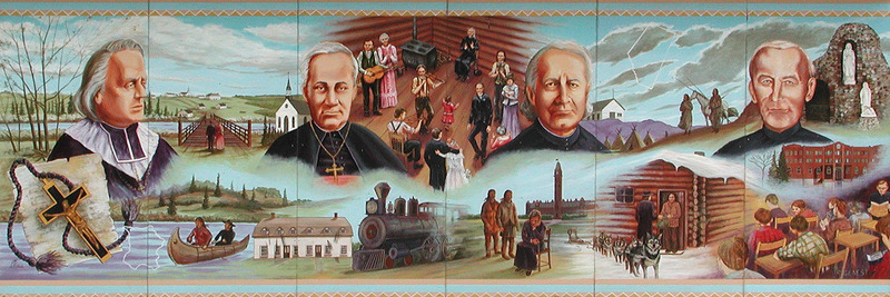 Mural by Remie Genest and Lucie Tettamente<br /><br />Eug&egrave;ne de Mazenod, OMI, far left, founded the Oblates in Aix-en-Provence, France in 1826. Oblates were priests dedicated to missionary work and helping the poor by being part of their everyday lives. Bishop Vital Grandin, OMI, served all of northern Alberta. Father Albert Lacombe, OMI, assisted the Transcontinental Railway to cross Western Canada in 1883. Blessed Brother Antoine Kowalczyk, OMI, served many years at the francophone boys&rsquo; residential school at Edmonton&rsquo;s St. Jean College (red building) in the 40s and 50s. In the center, we see St. Albert, Alberta, at its very beginning.