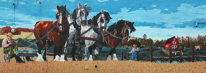 Mural by Marc and Daniel Michaud<br /><br />Jean-Marie Chauvet immigrated from France and is seen on the bottom right of this mural.&nbsp; He valued education and most of his children received a post-secondary education. Paul, his eldest son, is depicted on a horse-drawn plow reading a book.&nbsp; This is to illustrate the challenge of getting an education during the era of horses.