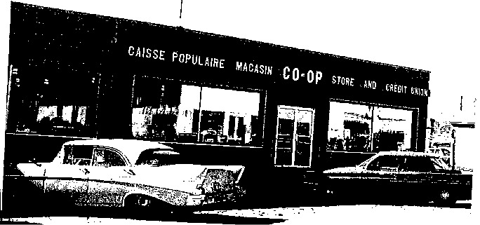 La co-op de Legal et la caisse populaire, qui opérait de la co-op, en 1962.
