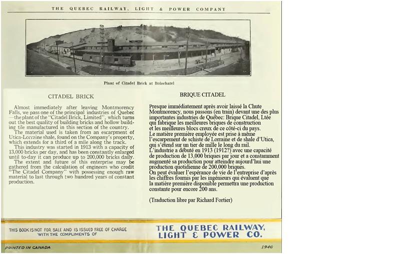 <p>Article de journal paru sur l&#39;usine de Brique Citadelle, commun&eacute;ment appel&eacute;e la &laquo; bricade &raquo;. L&#39;&eacute;tablissement de l&#39;entreprise a &eacute;t&eacute; possible gr&acirc;ce &agrave; la ressource abondante, combin&eacute;e avec la proximit&eacute; du chemin de fer Qu&eacute;bec-Charlevoix, lequel permettait le transport des marchandises.<br /><br />Source : Facebook : Et si Boischatel m&#39;&eacute;tait cont&eacute;!</p>