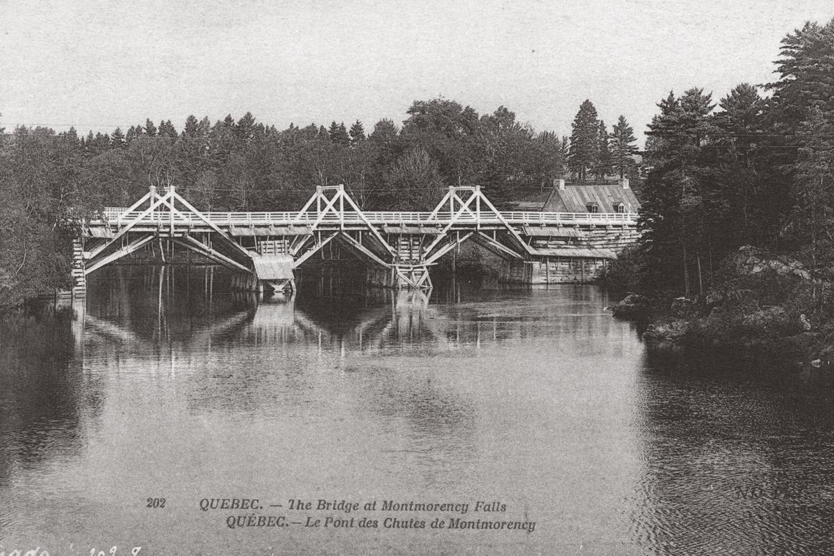<p>Le pont au dessus de la rivi&egrave;re Montmorency.<br /><br />Photo : Laforte, Esther. Inventaire arch&eacute;ologique du pont de la rivi&egrave;re Montmorency, auberge Bureau, CfEs-28, Boischatel, Qu&eacute;bec, Minist&egrave;re des Transports du Qu&eacute;bec, Qu&eacute;bec, 1995.</p>