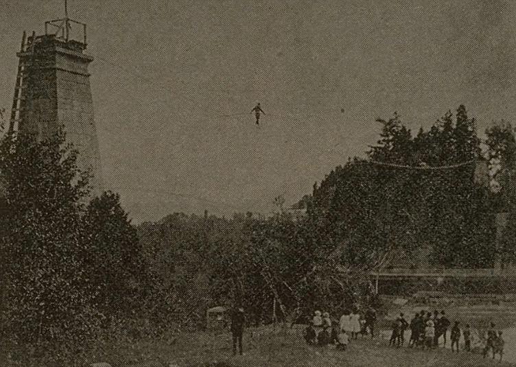 <p>Anecdote particuli&egrave;re : l&rsquo;&eacute;quilibriste Hardy a attir&eacute; plus de 14 000 visiteurs en juin 1903 en passant au-dessus de la cataracte sur un fil de fer.&nbsp;<br /><br />Source : BNQ - Revues anciennes NO 6128 &laquo; Au-dessus de l&#39;ab&icirc;me : Hardy quitte la tour &raquo;. L&#39;album universel, Vol. 22, no. 1106, pp. 264 (1 juillet 1905).</p>