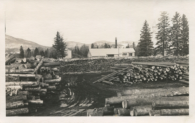 <p>Lumber yard behind the mill. (Late 1950s)</p>