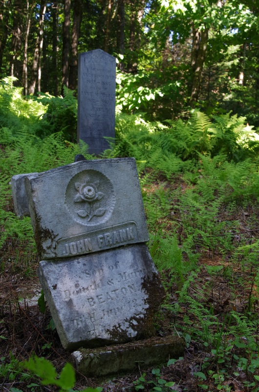 Pierre tombale de John Frank, fils de Beaton. Cette pierre tombale est située dans le bois à environ 1 km de la route 214.