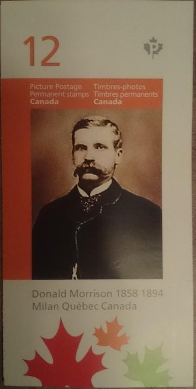 Nous poss&eacute;dons ici des timbres avec la seule photo couleur de Donald Morrison existante. Voici un exemplaire fourni par M. Aaron Nutbrown.<br /><br />Ces timbres&nbsp;peuvent toujours servir a envoyer des lettres ou cartes&nbsp;postales car ils ont cours l&eacute;gal au Canada et n&#39;ont aucune limite de dur&eacute;e d&#39;utilisation.&nbsp;<br /><br />Timbres disponibles SEULEMENT au Mus&eacute;e Donald Morrison.