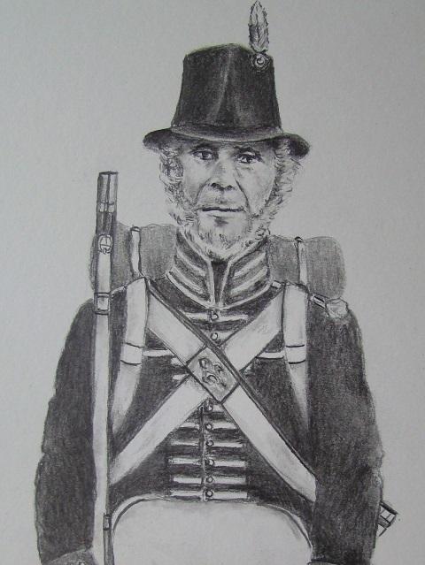 Une esquisse en noir et blanc de Monsieur Massicotte en habit de milice.
