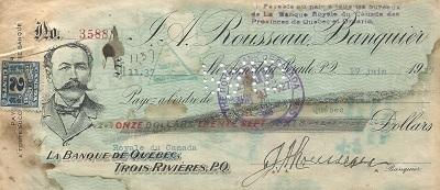 Ce chèque a été signé par Jeffrey-Alexandre Rousseau le 17 juin 1927, soit moins d'une semaine avant son décès à l'Hôpital Normand de Trois-Rivières