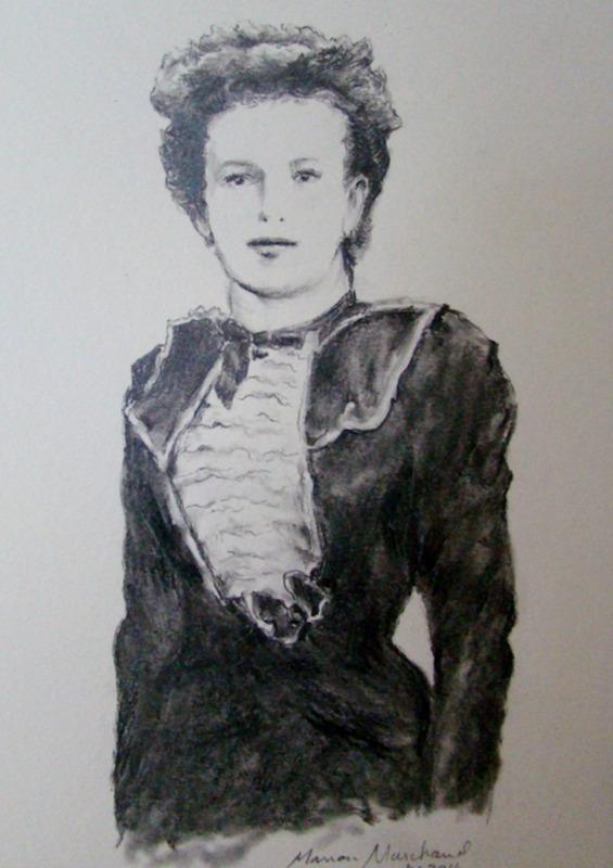 Esquisse en noir et blanc qui a servie à la création du personnage érigé à Saint-Stanislas