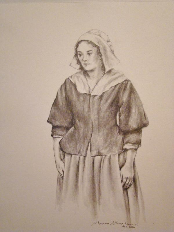 Esquisse en noir et blanc ayant servi à la création de l'œuvrede Marie Raclot qu'on peut voir dans la municipalité de Champlain.