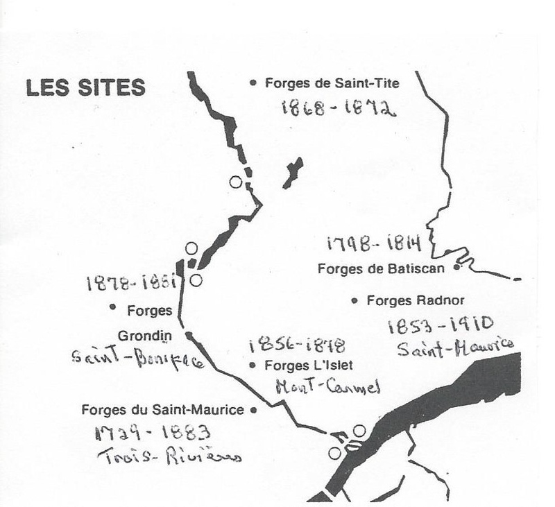 La sid&eacute;rurgie est la plus ancienne activit&eacute; industrielle de la Mauricie. Depuis la premi&egrave;re coul&eacute;e en 1734 (Forges du Saint-Maurice), jusqu&rsquo;&agrave; la fermeture des forges Radnor en 1910, plusieurs g&eacute;n&eacute;rations de travailleurs et d&rsquo;entrepreneurs se sont succ&eacute;d&eacute; pour l&rsquo;exploration des mines de fer de la r&eacute;gion. Le grand-p&egrave;re, le p&egrave;re et Pierre-Alfred Boisvert ont travaill&eacute; aux forges Radnor.<br />Sur ce sh&eacute;ma vous pouvez situer les forges environnantes.