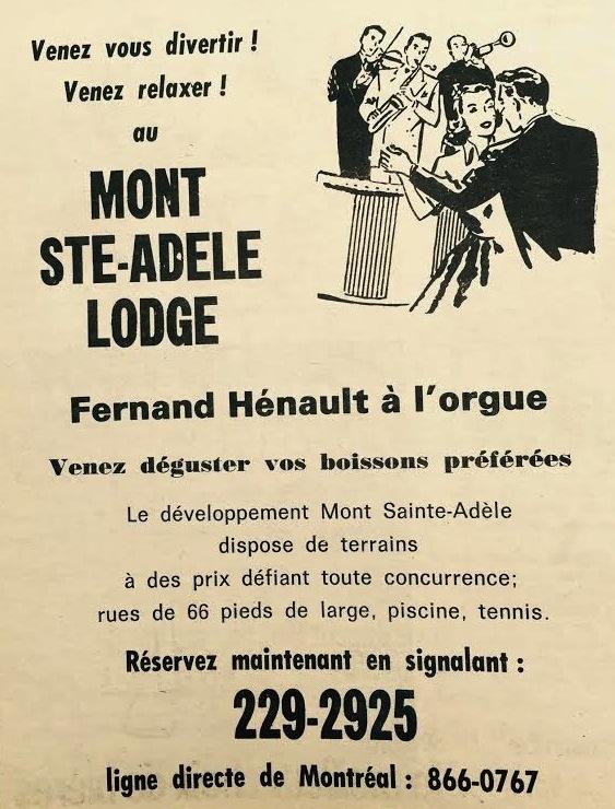 Venez vous divertir au Ste. Adele Lodge<br /><br />Publication du Journal des Pays-d&#39;en-Haut
