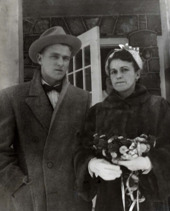 Robert Belec, son of Coride Belec and Rose Richer, and his wife Rolande (1952).