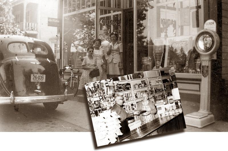 <p>Le magasin g&eacute;n&eacute;ral d&rsquo;Aim&eacute; Rivard, vers 1940 et vers 1970.<br /><br />Au cours des ann&eacute;es et jusqu&rsquo;en 1970, le marchand Aim&eacute; Rivard et son &eacute;pouse Antoinette &eacute;talaient une multitude d&rsquo;articles dans les vitrines, ce qui laissait &agrave; penser qu&rsquo;on trouvait presque tout sur les tablettes et dans l&#39;entrep&ocirc;t de leur magasin g&eacute;n&eacute;ral.<br /><br />Source photo:<br />Coll. Normand Rivard</p>