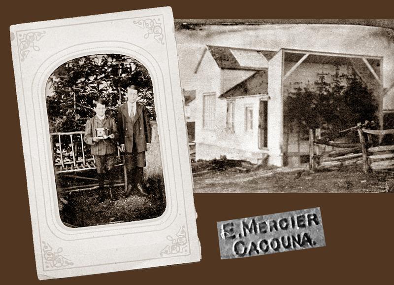 <p>Le jeune Louis-Philippe Mercier tient dans ses mains un des appareils photographiques de son p&egrave;re, Ernest, accompagn&eacute; de son voisin Paul-&Eacute;mile Rivard, vers 1910.<br /><br />&Agrave; l&rsquo;int&eacute;rieur du studio, une toile peinte repr&eacute;sentant un paysage lui servait de fond tandis qu&rsquo;&agrave; l&rsquo;ext&eacute;rieur, le photographe avait improvis&eacute; un d&eacute;cor naturel compos&eacute; de quelques conif&egrave;res et d&rsquo;un banc de parc.&nbsp; Pour vingt-cinq cents, on avait droit &agrave; deux photographies.<br /><br />Le photographe Mercier fixa aussi, sur plaques de verre, les paysages bucoliques de la campagne et des environs du fleuve &agrave; Cacouna: la baignade, la navigation, la construction du quai ou tout autre sujet inspirant l&rsquo;artiste.&nbsp; &Agrave; l&rsquo;&eacute;poque, les &eacute;diteurs J.P. Garneau de Qu&eacute;bec et Illustrated Postcard Co de Montr&eacute;al les reproduisaient sur des cartes postales.<br /><br />Vers 1911, apr&egrave;s le d&eacute;c&egrave;s de son &eacute;pouse, le photographe Ernest Mercier, fils du cultivateur Herm&eacute;n&eacute;gilde Mercier de Cacouna, cessa de venir &agrave; la maison familiale durant la saison touristique.&nbsp; Il fut un pr&eacute;curseur, ouvrant le chemin &agrave; d&rsquo;autres photographes, dont Aim&eacute; Rivard.<br /><br />Source photo:<br />Coll. Richard Michaud</p>