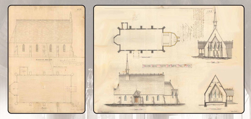 <p>Plans de l&#39;&eacute;glise St. James the Apostle.<br /><br />En 1885, le fils d&#39;Edward Staveley, Harry, dressa les plans requis pour modifier le temple, et un entrepreneur de Rivi&egrave;re-du-Loup, Fran&ccedil;ois Lachance, effectua les travaux.<br /><br />Source photo:<br />Plans de l&rsquo;&eacute;glise: Biblioth&egrave;que et Archives nationales du Qu&eacute;bec, Fonds Famille Staveley.<br />Eglise: Edward Staveley, 12 septembre 1864 (P541,D62C)<br />Cacouna Church&ndash;New Chancel, Porch and Belfry: Harry Staveley, 17 septembre 1885 (P541, D62C)<br /><br />&nbsp;</p>