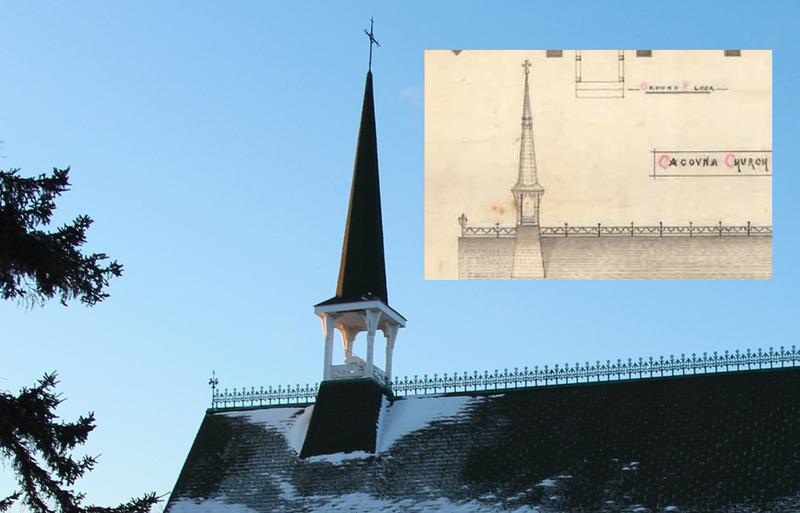 <p>Suivant les plans de 1885, on coiffa l&rsquo;&eacute;difice d&rsquo;un clocher plus imposant et d&rsquo;une tr&egrave;s belle cr&ecirc;te de fer, encore pr&eacute;sents aujourd&#39;hui.<br /><br />Source photo :<br />Photo: Yvan Roy</p>