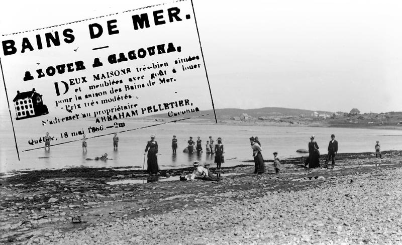 <p>La baignade &agrave; l&rsquo;eau sal&eacute;e, vers 1890.<br /><br />Dans une annonce publi&eacute;e dans le journal &laquo;Le Canadien&raquo;, de Qu&eacute;bec, en ao&ucirc;t 1845, Abraham Pelletier pr&eacute;cise que la &laquo;Maison de bains &agrave; Kakouna&raquo;&nbsp; peut accueillir les malades.&nbsp; Rappelons qu&rsquo;&agrave; cette &eacute;poque, on croyait que les bains d&rsquo;eau sal&eacute;e pouvaient rendre la sant&eacute;.&nbsp; D&egrave;s 1843, le &laquo;Pocahontas&raquo;, un vapeur qui faisait un voyage hebdomadaire de Qu&eacute;bec &agrave; Rivi&egrave;re-du-Loup, en faisant escale &agrave; Rivi&egrave;re-Ouelle, Murray Bay et Kamouraska, commen&ccedil;a&nbsp; &agrave; amener des visiteurs.<br /><br />Source photo:<br />Coll. Famille Antonio Sirois</p>