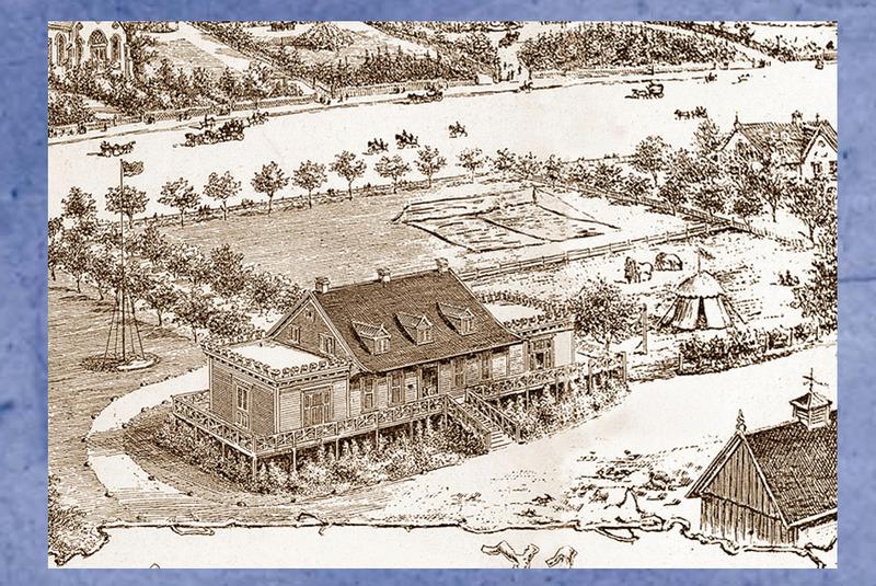 <p>Maison de ferme des Lebel ou cottage des Hickson, au sud du chemin.<br /><br />Lors des grandes vacances, la demeure du fermier devenait le cottage du vill&eacute;giateur.&nbsp; Les cultivateurs fournissaient l&#39;eau et le bois &agrave; leurs locataires.&nbsp; Certains am&eacute;nag&egrave;rent un terrain de tennis ou de croquet, et m&ecirc;me un sentier vers la cabine de bain.&nbsp; Vers 1880, Joseph Hickson, directeur g&eacute;n&eacute;ral de la compagnie du Grand Trunk, fit construire, &agrave; ses frais, deux petites annexes aux extr&eacute;mit&eacute;s de la demeure des Lebel.<br /><br />Source photo:<br />Dessin d&#39;Eugene Haberer, d&eacute;tail d&rsquo;un d&eacute;pliant publicitaire du St. Lawrence Hall, 1901, Mus&eacute;e du Ch&acirc;teau Ramezay (Carte #15, Cacouna Illustr&eacute;, 2001)</p>