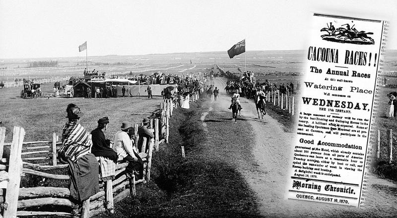 <p>Courses de chevaux dans les champs.<br /><br />Des courses de chevaux &eacute;taient organis&eacute;es dans un champ, au sud de la demeure des Lebel.&nbsp; Les amateurs s&rsquo;y rendaient en passant par le petit chemin cl&ocirc;tur&eacute;, &agrave; l&rsquo;ouest de la maison.<br /><br />Source photo:<br />Archives Nationales du Qu&eacute;bec, Fonds Livernois<br />Encart: Journal Morning Chronicle, 16 ao&ucirc;t 1870</p>