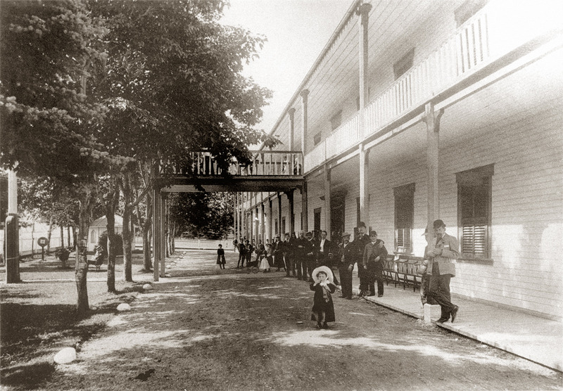 <p>Entr&eacute;e principale de l&rsquo;h&ocirc;tel St. Lawrence Hall, vers 1900.<br /><br />En 1871, 600 clients s&rsquo;entassaient dans 400 chambres de l&rsquo;&eacute;tablissement.&nbsp; Par souci de confort, on modifia les divisions et, en 1890, l&rsquo;h&ocirc;tel ne comptait plus que 121 chambres et 8 suites et pouvait accueillir 300 personnes.<br /><br />Source photo:<br />Archives Nationales du Qu&eacute;bec, Fonds Livernois (P560, S1, P350)</p>