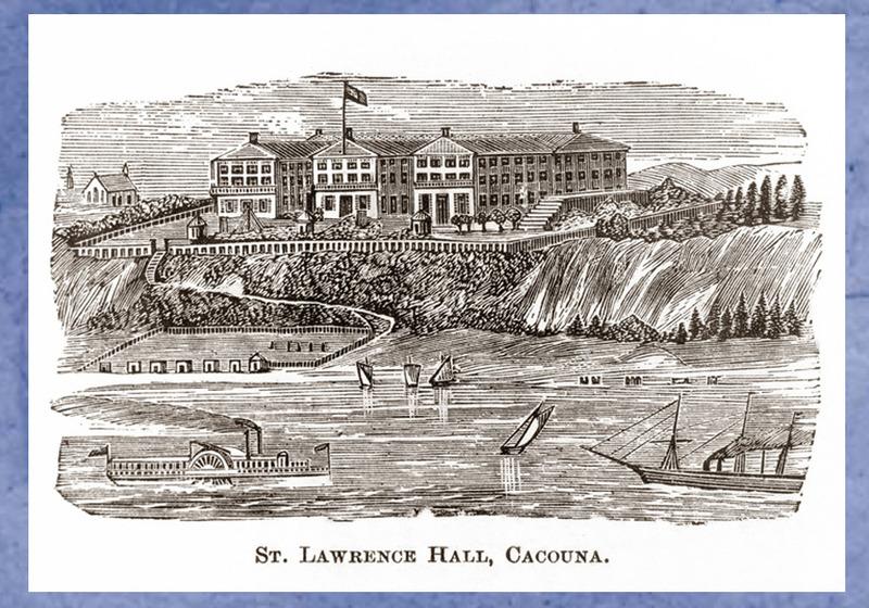 <p>Le St. Lawrence Hall vu du fleuve.<br /><br />Les belles plages, l&#39;eau sal&eacute;e, l&#39;air vivifiant et la nature exer&ccedil;aient un attrait irr&eacute;sistible en cette p&eacute;riode romantique.&nbsp; Les riches citadins canadiens et am&eacute;ricains n&#39;h&eacute;sitaient pas &agrave; parcourir de grandes distances, &agrave; bord des navires de la ligne du Saguenay ou des wagons de la compagnie du Grand Trunk, pour venir go&ucirc;ter aux plaisirs de Cacouna et du St. Lawrence Hall.<br /><br />Source photo:<br />Artiste inconnu,1879, dessin tir&eacute; du d&eacute;pliant publicitaire du St. Lawrence Hall, 1901, coll. Mus&eacute;e du Ch&acirc;teau Ramezay (Carte #25, Cacouna Illustr&eacute;, 2001)</p>