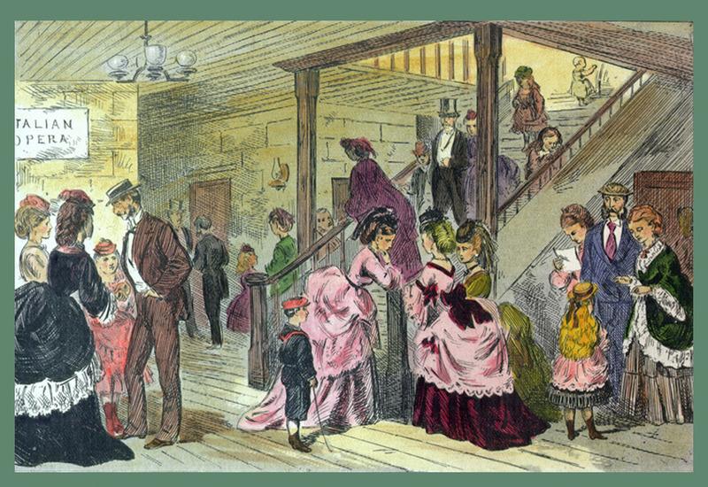 <p>Une journ&eacute;e de pluie au St. Lawrence Hall.<br /><br />Apr&egrave;s avoir d&eacute;jeun&eacute; au son des violons, les clients consultaient le programme de la soir&eacute;e pour savoir quel op&eacute;ra italien serait jou&eacute;.&nbsp; Les hommes se rendaient ensuite au fumoir, chez le barbier, au poste t&eacute;l&eacute;graphique ou au billard, tandis que les femmes allaient vers le salon, la boutique d&#39;artisanat ou la salle de quilles.&nbsp; Rien n&#39;avait &eacute;t&eacute; oubli&eacute; pour le plaisir des h&ocirc;tes.<br /><br />Source photo:<br />Gravure d&rsquo;Edward Jump,1872 (Carte #32, Cacouna Illustr&eacute;, 2001)</p>