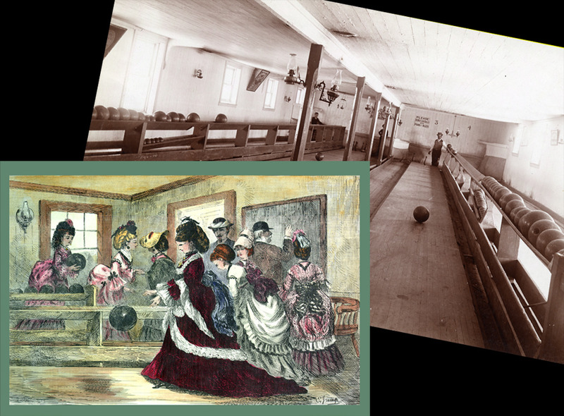 <p>Les dames jouant aux quilles.<br /><br />Les belles dames participaient aux tournois de quilles organis&eacute;s dans le sous-sol du grand h&ocirc;tel.&nbsp; Oubliant robes et jupons, aussi lourds qu&#39;encombrants, elles lan&ccedil;aient leurs boules et comptaient des points.&nbsp; Sur les deux all&eacute;es, on ne rivalisait pas seulement d&#39;adresse, mais aussi d&#39;&eacute;l&eacute;gance avec le dernier cri de la mode parisienne.<br /><br />Source photo:<br />Gravure d&rsquo;Edward Jump, 1872, coll. The Parsonage, Cacouna (Carte #33, Cacouna Illustr&eacute;, 2001)<br />Photo: All&eacute;es de quilles du St. Lawrence Hall, Archives Nationales du Qu&eacute;bec, Fonds Livernois (P560, S1, P360)</p>