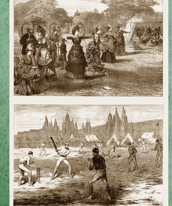 <p>Les activit&eacute;s de plein-air.<br /><br />Au tournant du XIXe si&egrave;cle, Cacouna rivalisait avec les autres stations baln&eacute;aires qu&eacute;b&eacute;coises et am&eacute;ricaines.&nbsp; En plus de se baigner, les ladies et les gentlemen&nbsp; jouaient au croquet, au cricket, au tennis et au golf.&nbsp; Ils s&#39;adonnaient aussi au tir &agrave; l&#39;arc et faisaient des randonn&eacute;es &agrave; cheval, en voiture, en canot ou &agrave; bicyclette.<br /><br />Source photo:<br />Tir &agrave; l&rsquo;arc, artiste inconnu et cricket, C. Kendrick, 1872 (Carte #27, Cacouna Illustr&eacute;, 2001)</p>