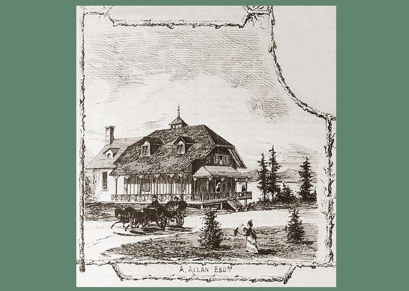 <p>La villa d&rsquo;Andrew Allan.<br /><br />Cette villa avait &eacute;t&eacute; construite pour un armateur, M. Andrew Allan, qui, avec son fr&egrave;re, Sir Hugh, avait fond&eacute; la Montreal Ocean Steamship Co., une soci&eacute;t&eacute; de transport qui allait devenir la Allan Line.&nbsp; Tout laisse croire qu&rsquo;il fit&nbsp; dessiner les plans de sa villa par les architectes qui avaient fait ceux de l&rsquo;&eacute;difice Allan (1858), c&rsquo;est-&agrave;-dire la firme Hopkins &amp; Wily, de Montr&eacute;al.&nbsp; La maison construite vers 1865 est de style n&eacute;ogothique.&nbsp; Son toit en croupe, surmont&eacute; d&rsquo;un puits de lumi&egrave;re, lui donne une allure particuli&egrave;re.&nbsp; Les murs ext&eacute;rieurs sont rev&ecirc;tus de planches verticales &agrave; couvre-joints, et le cottage est partiellement entour&eacute; de grandes galeries o&ugrave; les Allan pouvaient se reposer &agrave; l&rsquo;ombre, les jours ensoleill&eacute;s, et prendre l&rsquo;air, les jours de pluie.<br /><br />En 1876, M. Allan vendit sa villa &agrave; Mathew H. Gault, un parent qui demeurait comme lui dans le &laquo;Mille carr&eacute;&raquo;, ce quartier bourgeois de Montr&eacute;al o&ugrave; vivaient de nombreux chefs d&rsquo;entreprises et plusieurs vill&eacute;giateurs de Cacouna.&nbsp; La famille Gault fr&eacute;quenta cette villa, qu&rsquo;elle avait surnomm&eacute;e Rockcliff, pendant 39 ans.&nbsp; En 1915, John F. Burstall, un marchand tr&egrave;s influent de Qu&eacute;bec, sp&eacute;cialis&eacute; dans l&rsquo;exportation du bois, acqu&eacute;rait&nbsp; la villa &agrave; son tour.&nbsp; Bien conserv&eacute;e, la b&acirc;tisse nous r&eacute;v&egrave;le les go&ucirc;ts et les coutumes des premiers vill&eacute;giateurs.&nbsp;<br /><br />Source photo :<br />Gravure : Edward Jump, 1872&nbsp; (Carte #21, Cacouna Illustr&eacute;, 2001)</p>