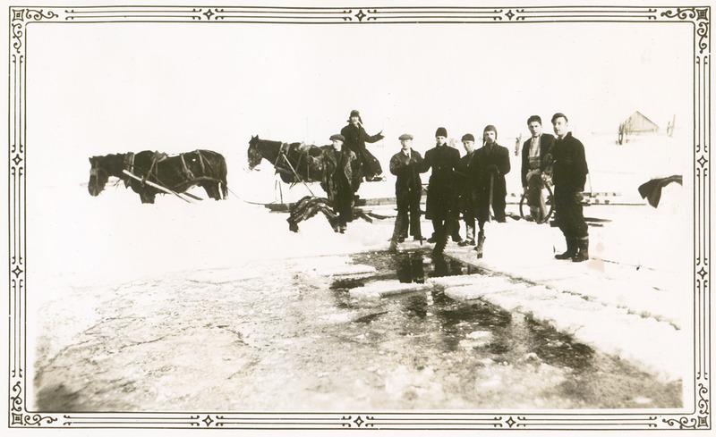 <p>Une corv&eacute;e de coupe de glace sur l&rsquo;&eacute;tang au pied du coteau sur le terrain de la ferme Lebel.&nbsp; Lorenzo et ses voisins, entre autres Andrew Dunnigan, sortaient de gros blocs &agrave; l&rsquo;aide de pinces.<br /><br />Dans la premi&egrave;re moiti&eacute; du vingti&egrave;me si&egrave;cle, sur le premier comme sur le deuxi&egrave;me rang, des agriculteurs coupaient une bonne quantit&eacute; de glace en p&eacute;riode hivernale.<br />Dans le Haut du village, Wilfrid Guay et Lorenzo Lebel poss&eacute;daient chacun un &eacute;tang au bas du coteau. L&rsquo;hiver venu, ils pouvaient emmagasiner facilement un grand nombre de blocs de glace de bonne qualit&eacute; pour leur besoin et ceux du voisinage. Le travail de coupe et de charroyage s&rsquo;&eacute;talait sur deux &agrave; trois semaines.&nbsp; Le cultivateur Lorenzo Lebel en stockait un bon nombre &agrave; la villa Montrose de Sir Montagu Allan. La glace se gardait ainsi facilement une bonne partie de l&rsquo;&eacute;t&eacute;.<br /><br />Source photo:<br />Album photo de Mary-Ann Dunnigan, coll. R&eacute;al Rioux</p>
