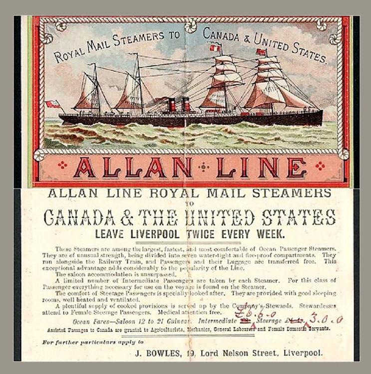 <p>Publicit&eacute; de la Allan Line pour ses Royal Mail Steamers<br /><br />La famille Allan a jou&eacute; un r&ocirc;le important dans l&rsquo;&eacute;conomie canadienne, en d&eacute;veloppant le transport maritime.&nbsp; En 1882, sir Montagu h&eacute;rita de la majorit&eacute; des parts de la Allan Line, compagnie fond&eacute;e par son p&egrave;re, sir Hugh, et son oncle.&nbsp; Cette compagnie transportait passagers et marchandises, sans oublier la Royal Mail, du Canada &agrave; la Grande-Bretagne et vice versa.&nbsp; En 1890, la flotte Allan comptait 32 transatlantiques.</p>