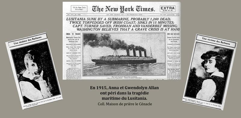 <p>En 1915, Anna et Gwendolyn Allan ont p&eacute;ri dans la trag&eacute;die maritime du Lusitania.<br /><br />Le bonheur de cette famille ais&eacute;e fut assombri par la Premi&egrave;re Guerre mondiale.&nbsp; En effet, madame Allan et ses deux filles se trouvaient &agrave; bord du transatlantique Lusitania de la ligne Cunard lorsqu&rsquo;il fut torpill&eacute; par un sous-marin allemand, en 1915.&nbsp; Malheureusement, Anna et Gwendolyn se noy&egrave;rent et leur m&egrave;re fut gravement bless&eacute;e.&nbsp; Deux ans plus tard, la fatalit&eacute; les frappa &agrave; nouveau.&nbsp; Leur fils Hugh, pilote de chasse pour l&rsquo;aviation britannique, fut abattu au cours d&rsquo;une mission au-dessus des lignes ennemies.&nbsp; Les Allan commenc&egrave;rent alors &agrave; espacer leurs s&eacute;jours &agrave; la campagne.<br /><br />Source photo:<br />Coll. Maison de pri&egrave;re Le C&eacute;nacle</p>