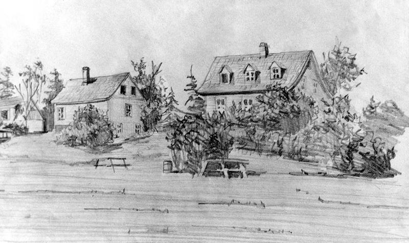 <p>La maison Dunnigan et son fournil, vus du c&ocirc;t&eacute; sud.<br /><br />L&rsquo;essor de la vill&eacute;giature a permis de conserver ces trois t&eacute;moins du pass&eacute;.&nbsp; La premi&egrave;re maison est devenue un fournil dans lequel la famille Beaulieu emm&eacute;nageait pendant la belle saison.&nbsp; En 1863, le cultivateur avait tout int&eacute;r&ecirc;t &agrave; louer sa r&eacute;sidence, car l&rsquo;argent &eacute;tait fort rare.&nbsp; Il la laissait garnie de meubles et il fournissait &agrave; ses locataires l&rsquo;eau et le bois dont ils avaient besoin.&nbsp; Les estivants pouvaient &eacute;videmment utiliser la &laquo;cabane de bains&raquo; sur laquelle le petit sentier d&eacute;bouchait.<br /><br />Source photo:<br />Dessin: Jean-Pierre C&ocirc;t&eacute;, 1974, coll. Famille Andrew Dunnigan</p>