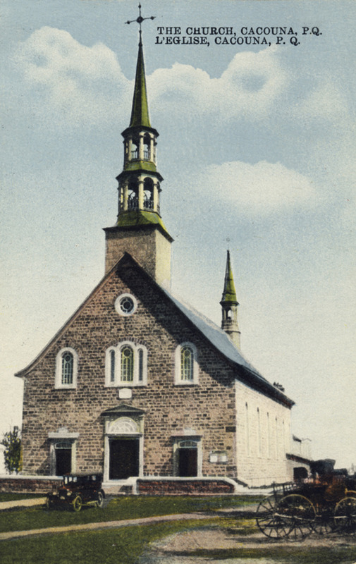<p>The church with its second belfry.<br /><br />During renovations undertaken in 1892, an architect from Quebec City, David Ouellet, was called upon to draw the plans. A belfry was added to the chevet to house the bell given to Cacouna by Seigneur Alexander Fraser in 1820. With the interior and exterior renovations completed, Saint-Georges church was finally consecrated on September 11, 1897. The church and presbytery were classified historic monuments in 1957.<br /><br />Photo source :<br />Postcard, E. Rivard &eacute;diteur, Yvan Roy Collection</p>