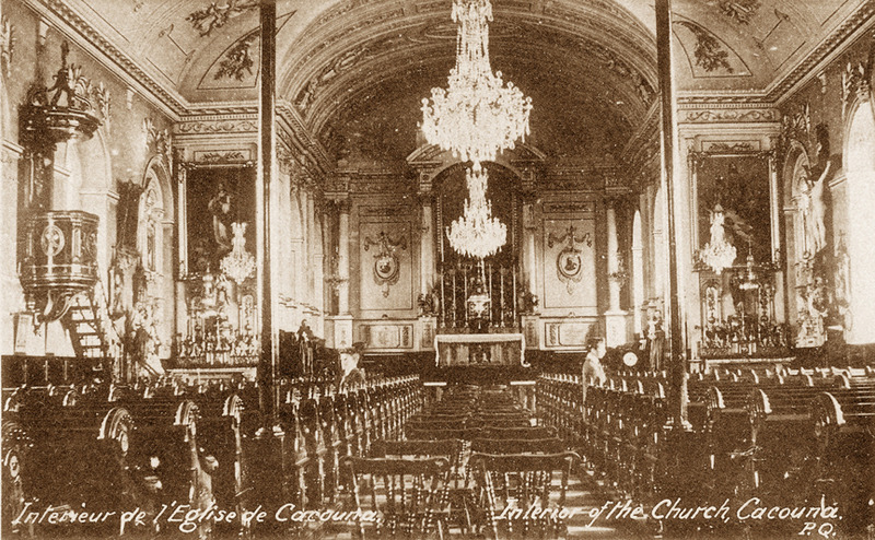 <p>The church interior around 1927.<br /><br />The church interior by Fran&ccedil;ois-Xavier Berlinguet. The retable is a masterpiece. The stained-glass windows in the chancel were done by the Quebec firm Bernard L&eacute;onard, and the oil paintings are by roman artists. The organ was built in 1888 by Eus&egrave;be Brodeur, while the magnificient crystals chandeliers date from 1890.<br /><br />Photo source :<br />Postcard, &Eacute;dition E. Rivard, Richard Michaud Collection</p>