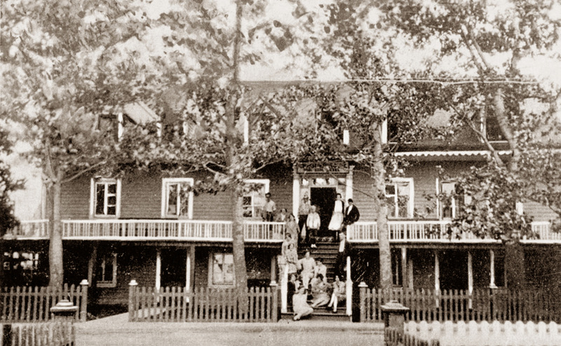 <p>Cacouna House, a temporary house-hotel built by Adolphe Sirois in 1861.<br /><br />Every summer, vacationing families gathered in Cacouna. Friends and relatives, accompanied by their servants, came together to spend part of their holidays on the shores of the St. Lawrence. The town&rsquo;s largest homes were much sought after to lodge all these visitors.<br /><br />Photo source:<br />Yves Lebel Collection</p>