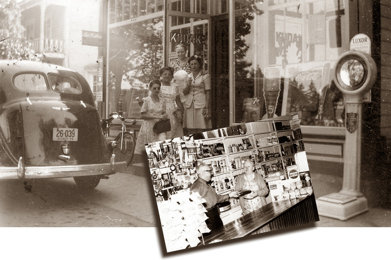 <p>The general store of Aim&eacute; Rivard, around 1940 and around 1970.<br /><br />Through the years, right up to 1970, Aim&eacute; Rivard displayed a multitude of products in his shop windows, giving the impression that he had just about everything anyone could need in stock on his shelves and in his warehouse.<br /><br />Photo source :<br />Normand Rivard Collection</p>
