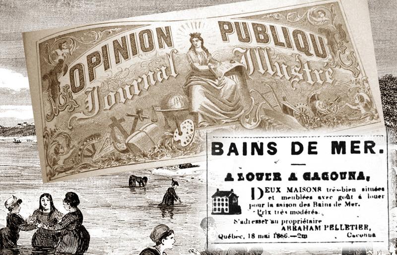 <p>Les bains de mer &agrave; Cacouna<br /><br />Un autre estivant, le docteur George W. Campbell,&nbsp; &eacute;tait un chirurgien r&eacute;put&eacute; qui fut doyen de la facult&eacute; de m&eacute;decine de McGill College, de 1860 &agrave; 1882.&nbsp; Selon l&rsquo;&eacute;dition de septembre 1870 du journal L&rsquo;Opinion publique, c&rsquo;est le r&eacute;cit de la gu&eacute;rison de son &eacute;pouse, apr&egrave;s un s&eacute;jour &agrave; Cacouna dans les ann&eacute;es 1840, qui fit du village une station baln&eacute;aire tr&egrave;s recherch&eacute;e.&nbsp; Certaines de ces r&eacute;sidences d&rsquo;&eacute;t&eacute; sont construites sur le territoire de la paroisse Saint-Patrice, mais leurs propri&eacute;taires venaient pleinement profiter de la &laquo; saison des bains &raquo; &agrave; Cacouna.<br /><br />Source photo :<br />Ent&ecirc;te : journal L&rsquo;Opinion publique, 1871<br />Publicit&eacute; : journal Le Canadien, 1866<br />Gravure : Edward Jump, Canadian Illustrated News, 14 septembre 1872</p>